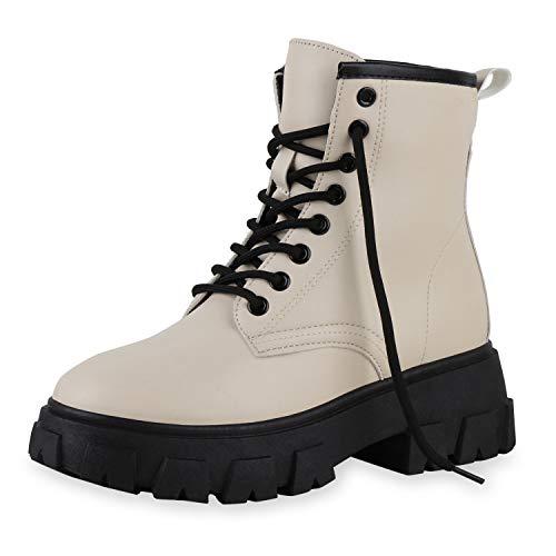 SCARPE VITA Damen Stiefeletten Leicht Gefütterte Plateau Boots Profilsohle Schuhe Blockabsatz Schnürer Lederoptik Plateauschuhe 198450 Creme 39