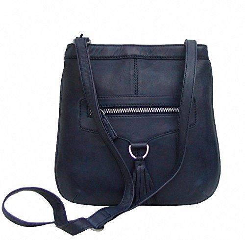 Dolphin kleine Damen Leder Umhängetasche dunkelblau, Leder Body Bag, 3 Fächer, ca. 23x24 cm