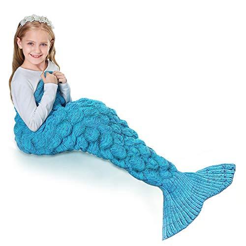 Mermaid Tail Blanket, TEKI Wearable Crochet Sleep Blanket for Kids Girls, Fish-Scales Pattern Full-Body Fishtail Blankets All Seasons Napping Coverlet (Blue)