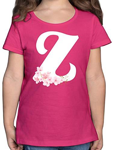 Anfangsbuchstaben Kind - Buchstabe Z mit Kirschblüten - 164 (14/15 Jahre) - Fuchsia - Buchstabe auf Shirt - F131K - Mädchen Kinder T-Shirt