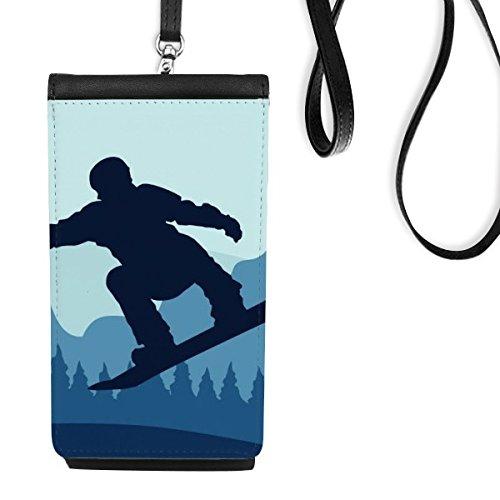 Winter Sport skiën en ski's en ski's pak en laarzen aquarel patroon kunstleer Smartphone opknoping portemonnee zwart telefoon portemonnee