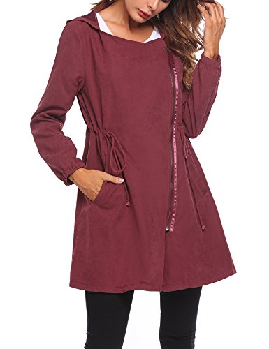 Zeagoo Women's Hooded Asymmetric Zipper Drawstring Windbreaker Jacket Coat Outerwear