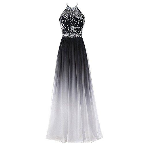 Sheer Beaded Halter Gradient Ombre Chiffon Long Prom Evening Dress Black White US 12