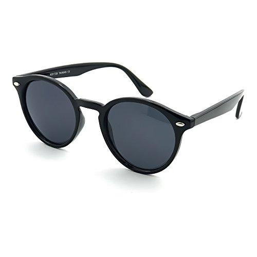 KISS Gafas de sol POLARIZADAS estilo MOSCOT mod. WAVE ICONIC - Johnny Depp hombre mujer REDONDO vintage - NEGRO