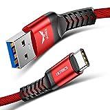 ULTRICS Câble USB Type C 1M, Cordon USB 3.1 Rapide Transfert de Données Nylon Tressé Cable Chargeur Compatible avec Samsung...
