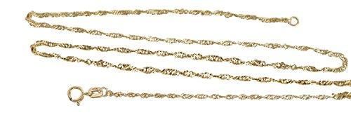 Hobra-Gold Fijne gouden ketting 333 Singapore-ketting geel goud ketting gedraaid 42 cm