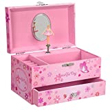 "SONGMICS Ballerina Music Jewelry Box Storage Case with Drawer, Gift for Little Girls, 7.5""L x 4.3""W x 4.3""H, Pink"