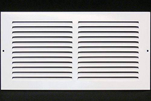 14'w X 8'h Steel Return Air Grilles - Sidewall and Ceiling - HVAC Duct Cover - White [Outer Dimensions: 15.75'w X 9.75'h]