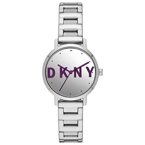 DKNY Damen-Uhren Analog Quarz One Size Silber Edelstahl 32010658