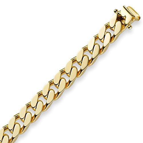 7mm Armband Armkette Panzerarmband 585 Gold Gelbgold 21cm Herren Goldarmband