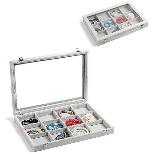 GuangLiu Cajas para Joyas Bandejas para Joyas Bandeja de joyería La Caja de visualización Pendiente de Soporte 12 Section