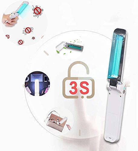 JXH Portable UV Disinfezione Scanner Pieghevole Viaggi Stick, Uccidere Il 99,9% dei batteri, Virus, allergica Pollutantsusb Carica, Bianco