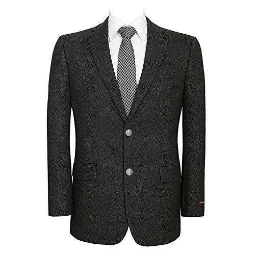 Men's Wool Blend Blazer Classic Fit Tweed Sport Coat Modern Winter Suit Jacket Dark Charcoal