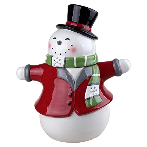 """Comfy Hour 11"""" Winter Holiday Christmas Snowman Cookie Jar"""