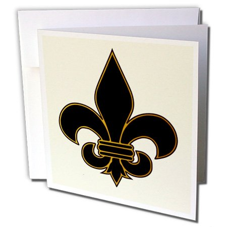 3dRose Large Black and Gold Fleur de lis Christian Saints Symbol - Greeting Cards, 6 x 6 inches, set of 6 (gc_22360_1)