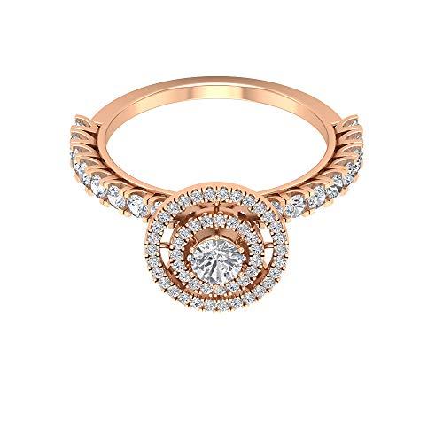 Rosec Jewels 14 quilates oro rosa Round Brilliant Moissanite