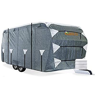 KING BIRD Upgraded Travel Trailer RV Cover, Extra-Thick 5 Layers Anti-UV Top Panel, Deluxe Camper Cover, Fits 30-33ft RV Cover -Breathable, Water-Proof, Rip-Stop with 2Pcs Straps & 4 Tire Covers
