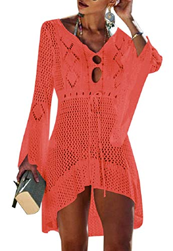 Tuopuda Bikini Cover Up Crochet Damen Strandkleid aushöhlen Stricken Swimsuit Sommerkleid mit V-Ausschnitt Strandrock Bell Sleeve Strandponcho Sommer Beachwear Bademode Strand Badeanzug (rot)