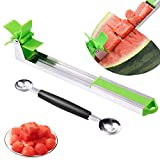 Vantic Watermelon Windmill Slicer Cutter - Stainless Steel Fruit Knife Corer with Melon Baller, Original Gadgets for Home & Kitchen, Green/Sliver
