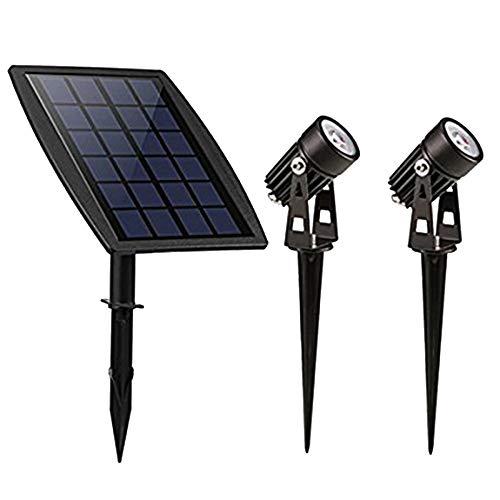 Proventa | 2 St. LED Gartenspot mit Solarmodul zur Beleuchtung von Pflanzen, Hecken, Figuren, uvm.| bis 6 h Licht ohne Stromanschluss | 3 m Anschlusskabel pro Spot | warmweiß | IP65