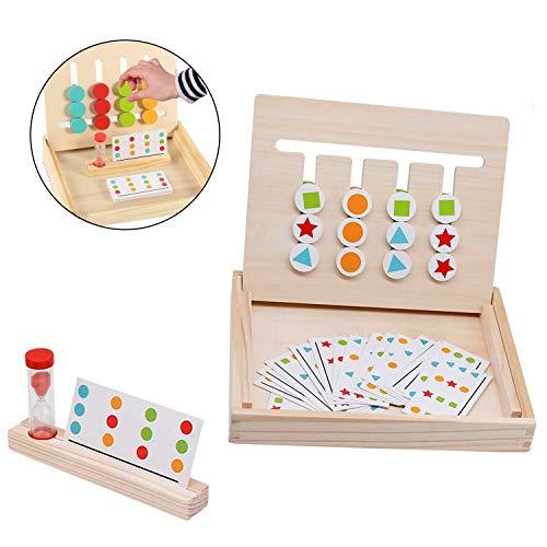 TATAFUN Juego de Madera Montessori Clasificación con Tarjetas de Patrón y Disco de Color, Juguete de Rompecabezas de Madera para Niños