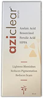 Aziclear serum with Azelaic Acid, Vitamin C, and Ferulic Acid for reducing pigmentation, scars, and signs of aging, 25 ml
