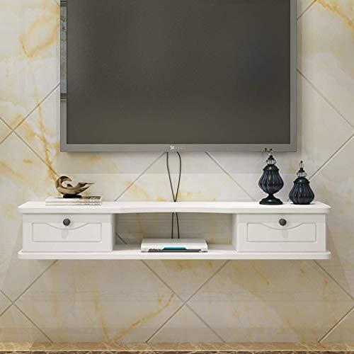 ZXYY TV-meubel, wandrek, wandrek, drijvend, set, opbergdoos voor router, console, tv, vloer, tv-vloer, tv-vloer, wandplank (kleur: bruin, maat: 100 cm) 140cm-white