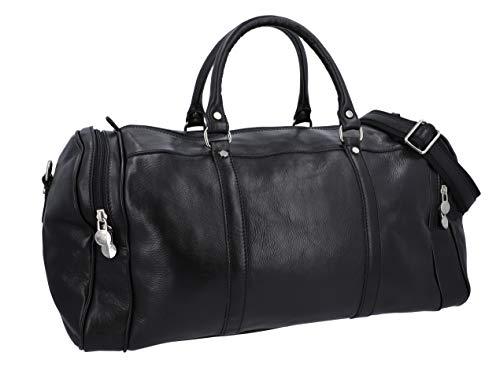 Gusti Leder studio borsa da viaggio bagaglio borsone per sport palestra fine settimana Made in Italy, vera pelle nero 2R15-93-2