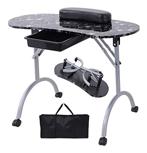 Nail Table- SUNCOO Portable Folding Station Desk Movable Tech Table for Home Spa Beauty Salon with Wrist Cushion, Drawer, 4 Lockable Wheels, Carrying Bag 35.4'15.7'26.8'