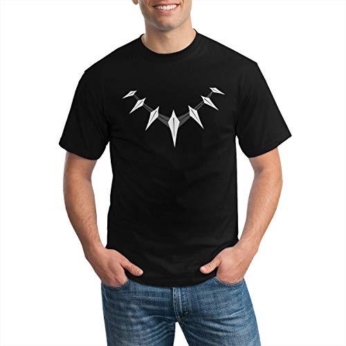 Collar De Diente De Hueso Camiseta De Moda De Manga Corta De Algodón para Hombre Negro Pequeño Negro