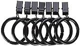 Amazon Basics Curtain Clip Rings for 1' Rod, Set of 7, Dark Bronze (Espresso), 4-Pack