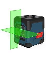 Kruislijnlaser, RockSeed Groene Zelfbalancerende Laserniveau 15M ± 0,2 mm/m, IP54 stof- en waterbescherming Horizontaal/Verticaal Groene Lijnlaser 2 AA Batterijen & Opbergtas