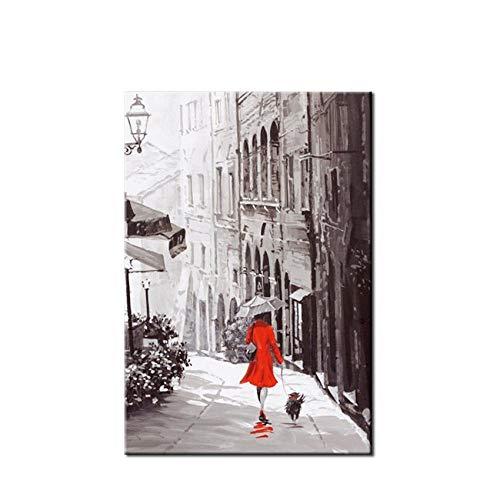 Pintura Al Óleo Pintada A Mano,100%Mano Pintada De Rojo Mujer Con Paraguas En La Lluvia Paisaje Abstracto Arte Mural Fotografías Hechas A Mano De Pintura Al Óleo Sobre Lienzo De Ilustraciones Para Cas