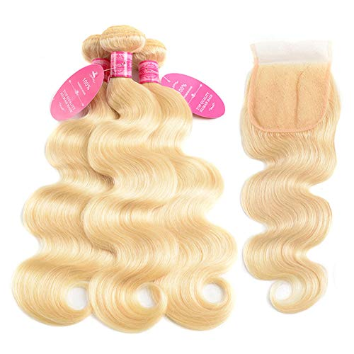 613 Closure with 3 Bundles Brazilian Blonde Body Wave Bundles with Lace Closure 100% Body Wave Virgin Remy Hair Weft Human Hair Bundles with Transparent Color Swiss Lace Closure(18 20 22+16, 613)