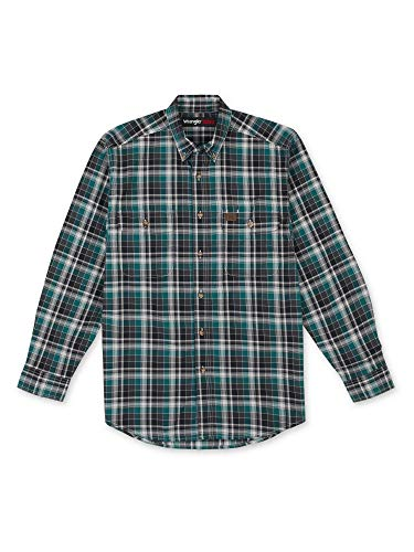 Wrangler Riggs Workwear Men's Big & Tall Long Sleeve Plaid Workshirt, Black/Green, Large Tall