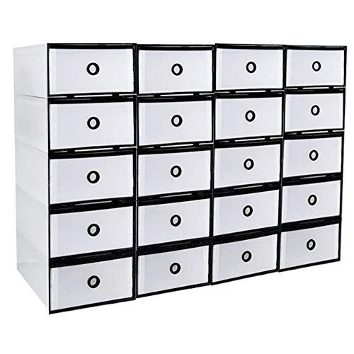 20 cajas de zapatos de plástico transparente para almacenamiento de zapatos, cajas apilables, cajones apilables, cajas apilables de plástico transparente