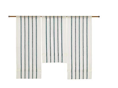 Decocompany Home Design Mini Flächenvorhang Set Petrol 2290 | 3 Teile | Scheibengardine Gesamtbreite 90cm (3x30cm) Höhe 80/60/80cm