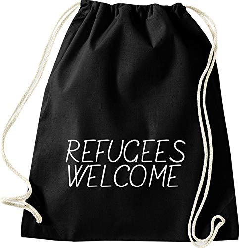 Shirtinstyle Turnbeutel, Refugees Welcome, Flüchtlinge, Bleiberecht, Gymsack, Beutel, Tasche, Farbe Schwarz