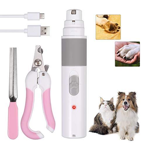 CAMWAY Lima de Uñas Electrónica Recargable Cortauñas Perro y Gato Tijeras Uñas Profesional Amoladora Eléctrica para Perros Gatos Silencio Recortador de Uñas de USB
