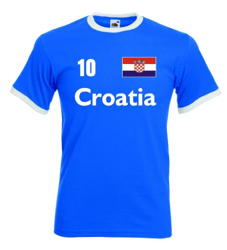 Fruit of the Loom Croatia/Kroatien Herren T-Shirt Retro Trikot Nr.10royal M