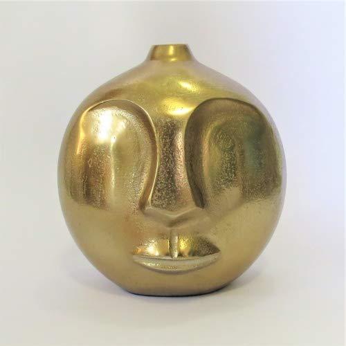 Colmore Vase Tisch Deko Rund Modern Gesicht Gold Bronze 20 cm
