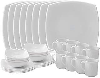 Matashi Platinum Collection Dish 32-Piece Opal Glassware Dinner Set-Break Freeze Resistant-Dishwasher Safe – Service for 8-(Platinum Collection, White), Platinum Collection,