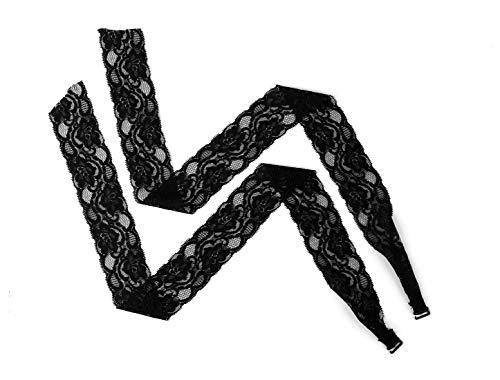 uxcell Elastic Adjustable Bra Shoulder Straps Lace Wrap for Dress for Women Black-2 20 mm