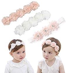 IYOU Fasce floreali per bambine con nastro in grosgrain in similpelle, accessori per capelli per feste, matrimoni, servizi fotografici (confezione da 3)