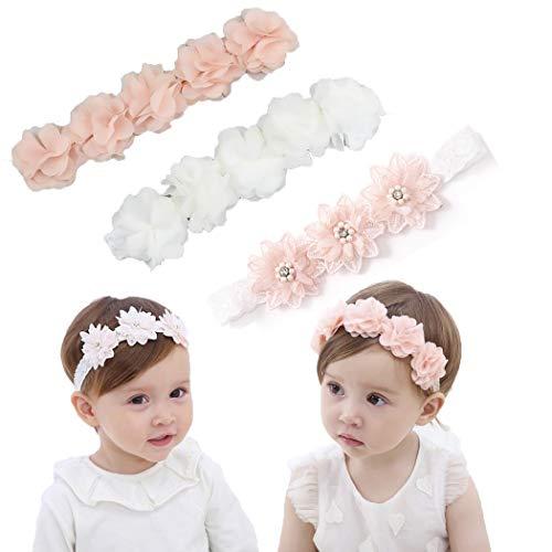 Iyou, Blumen-Stirnband mit Ripsband für kleine Mädchen, Kunstleder-Sterne für Kinder als Haarschmuck für Party, Hochzeit, Foto (3 Stück)