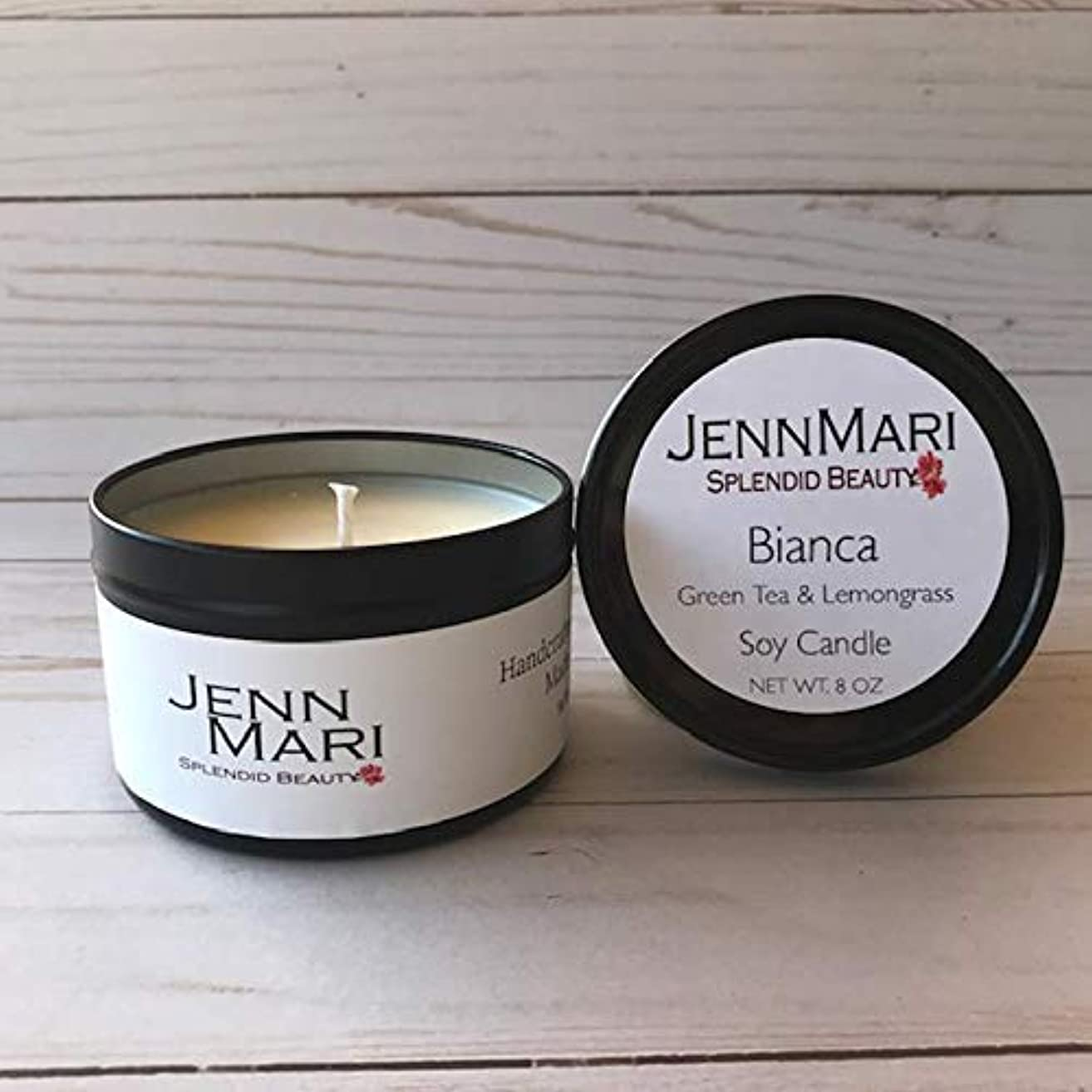 Splendid Beauty   Green Tea & Lemon Grass Scented Soy Candle 8 Oz Tin   Handmade   Eco-friendly   Vegan   Cotton Wick   100% Soy Wax