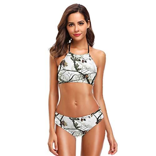 White Realtree Camo Women Halter Two Piece Bikini Swimwear Vintage Swimsuit