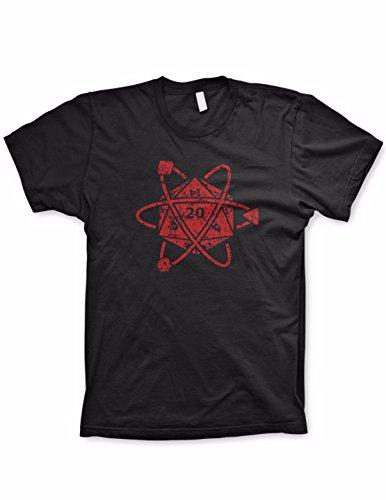 Guerrilla Tees D20 Atom Shirt Funny Tshirts dice Game Shirt Board Games, Black, Small