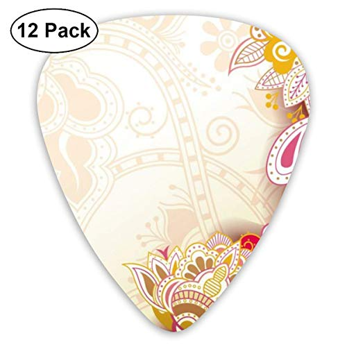 Funny Red Flowers Guitar Picks (12-Pack) Picks for Acoustic Electric Guitars Bass Or Ukulele Includes Thin, Medium, Heavy Gauges
