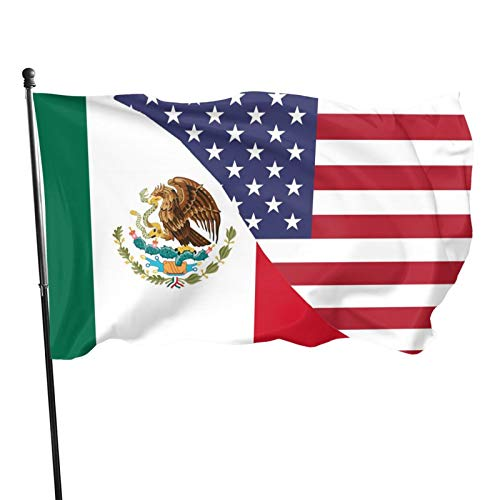 BAIFUMEN Mexico USA Friendship Flag Funny Flag 3x5 FT Holiday Banner Garden Yard House Flags Indoor Outdoor Party Home Decorations Vivid Color and Double Sided Print